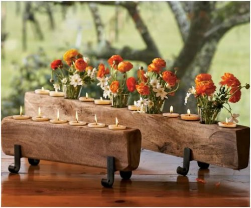 Thanksgiving Centerpiece Table Decorations - Rustic wood floral with candles