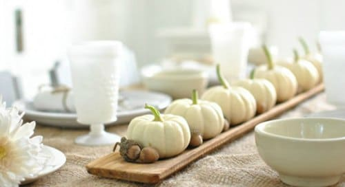 Thanksgiving Centerpiece Table Decorations - small white pumpkin