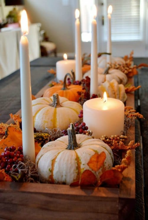 Thanksgiving Centerpiece Table Decorations - small pumpkin and candle