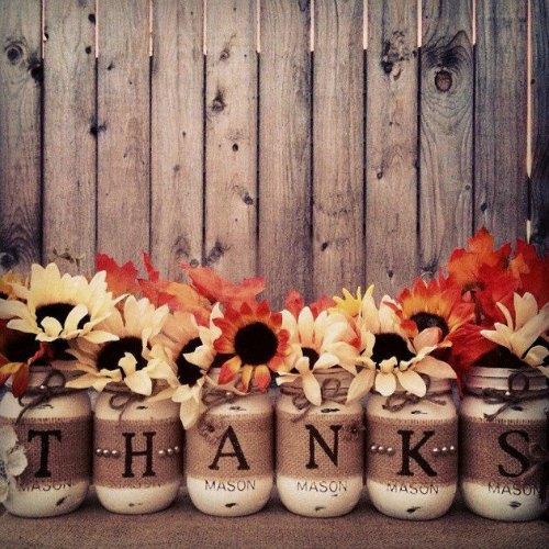 Thanksgiving Centerpiece Table Decorations - thanks mason jar