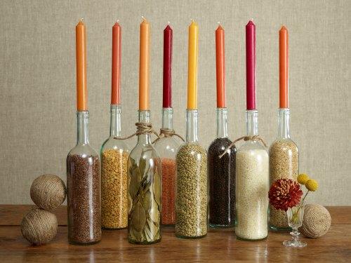 Thanksgiving Centerpiece Table Decorations - wine bottle