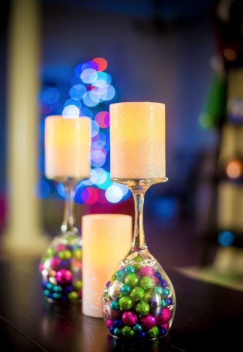 Christmas candle decoration with wine glass