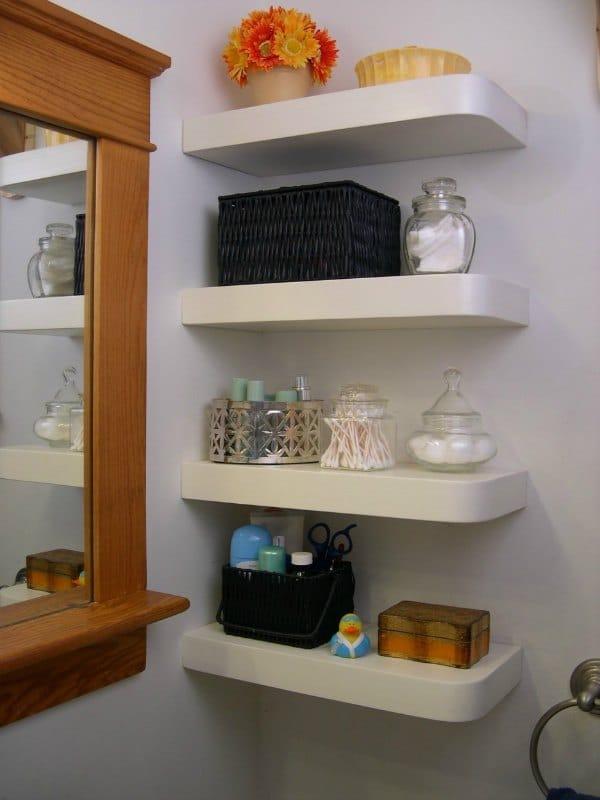 Corner Bathroom Shelf Idea - White Floating Shelf