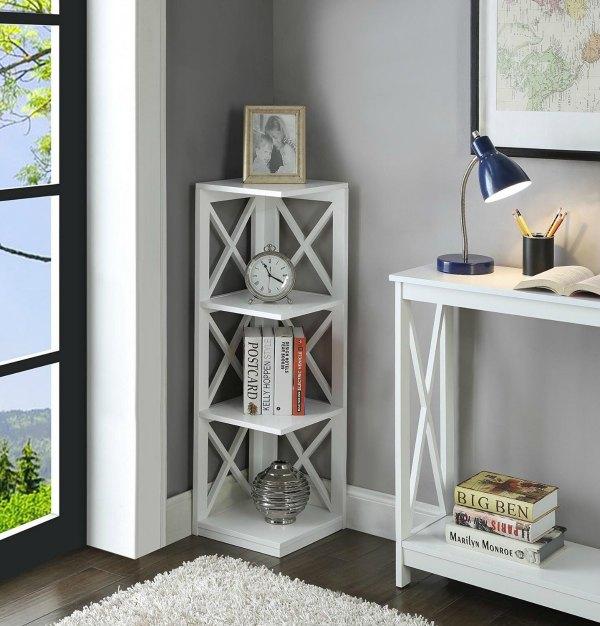 Corner Shelf - Short White Detailed Bookshelf