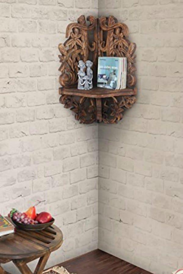 Detailed Wood Carved Corner Shelf