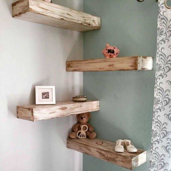 Corner Shelf - DIY Floating Rustic Corner Shelf