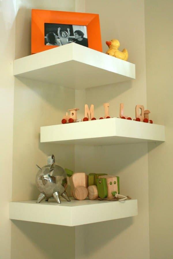 Corner Shelf Design - White Floating Ikea Shelf