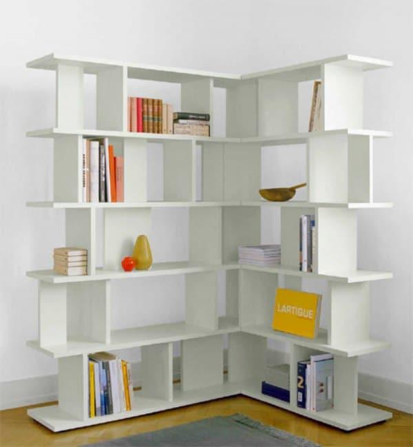 Corner Shelving Idea - White Corner Bookcase