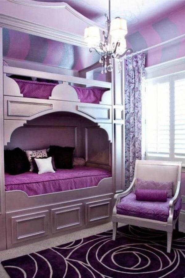 purple decor kids bedroom with purple furniture purple bunkbeds - Purple Kids Room Decor