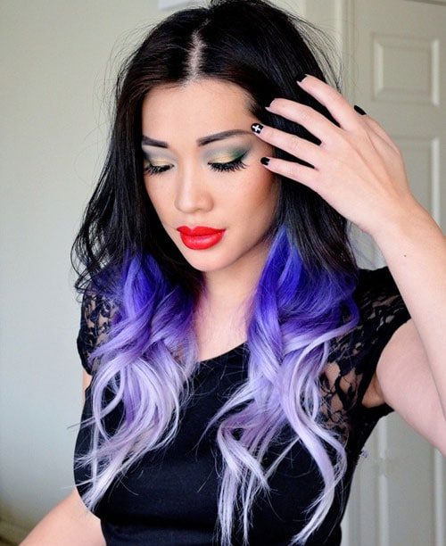 Blue Ombre Hair - Black to Light Blue Ombre Hair Color