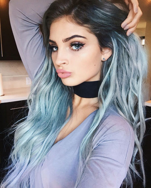 Bold Ombre - Dark hair to blue gray