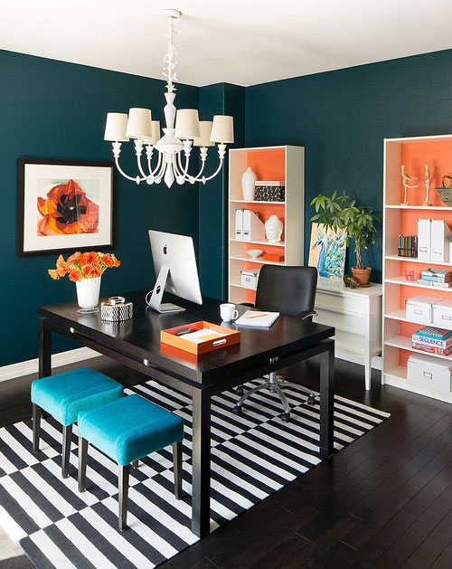 Bold and Colorful Home Office