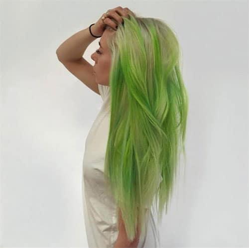 Fluid Hair Painting - Bright Green
