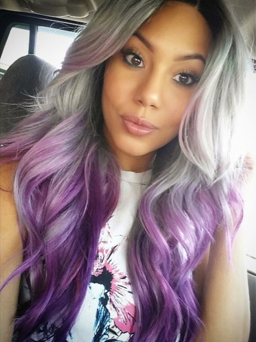Grey and Purple Ombre Hair