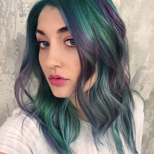 Hair Painting - Green and Purple