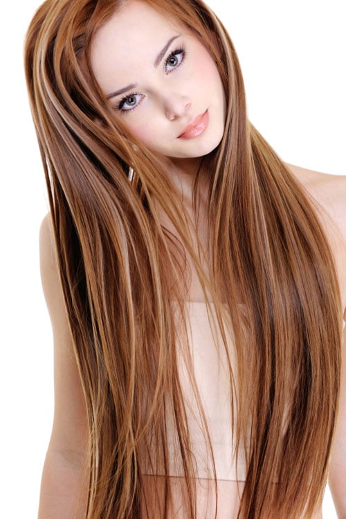 Hand Painted - Fluid Hair Paint - Red Hair Blonde Highlights