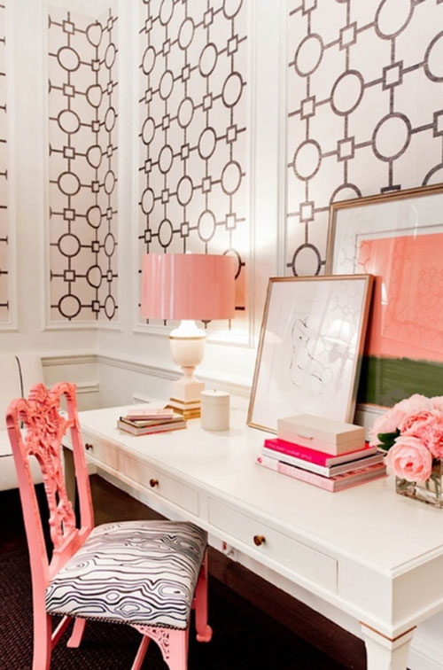 Home Office Ideas - Pink and Gold