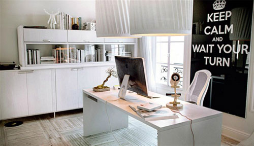 Home Office Ideas - White with Black Accents