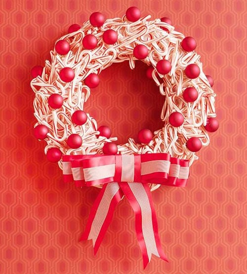 Mini Candy Cane Wreath Christmas Decoration