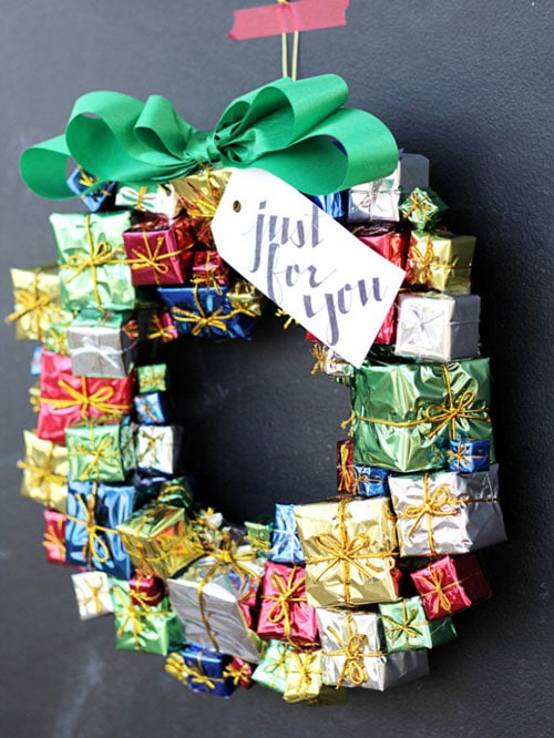 Mini Presents Christmas Wreath DIY Christmas Decor