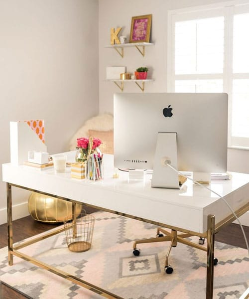 Modern Home Office White and Gold