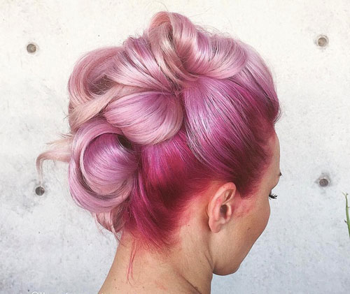 Pink Ombre Updo - Vibrant Ombre Colors
