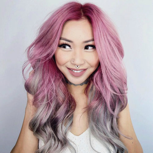 Pink and Grey Reverse Ombre Hair