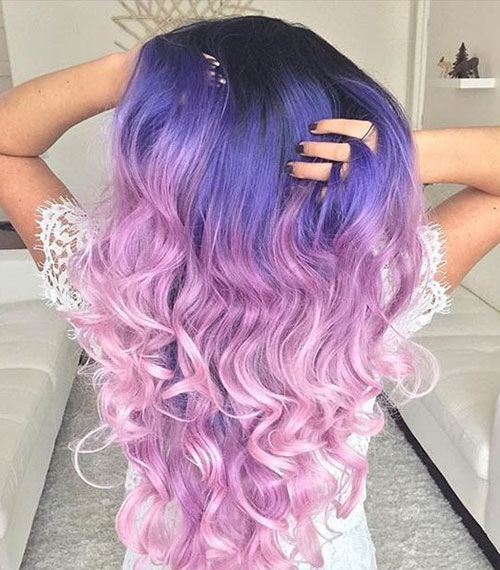 Purple to Pink Hair Color Idea - Purple Ombre - Pink Ombre