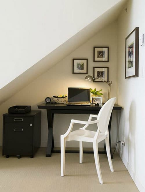 Small Home Office Decorating Ideas - Office Nook Under Stairs