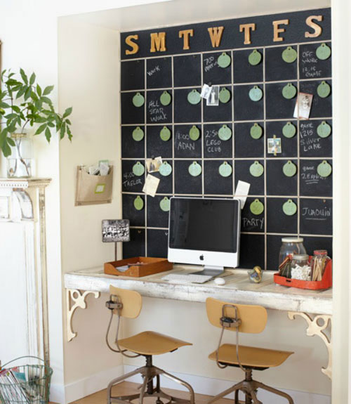 Small Office Decor - Home Office With Full Chalkboard Calendar