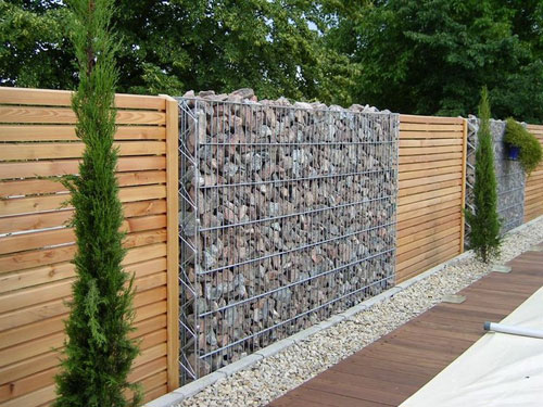 Stone and Wood Panel Fence