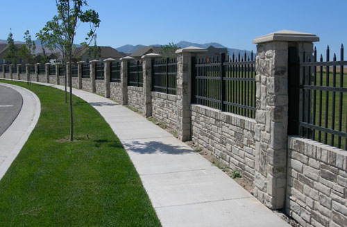 Stone and Wrought Iron Fence