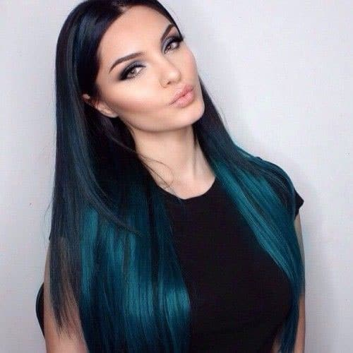Vibrant Hair Color for Dark Hair - Teal Ombre Hair Color
