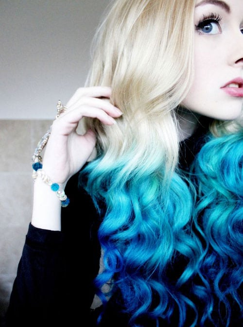 Vibrant Ombre Hair Color - Blonde to Blue Ombre Hair color - Colorful Hair Color