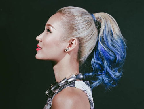Vibrant Ombre Hair Color - Blonde to Blue Ombre Hair color