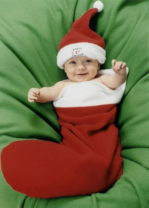 Baby Christmas Photoshoot - Happy Baby in Stocking