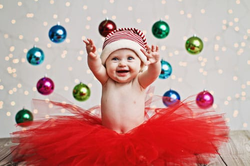 Baby Christmas Picture Idea with Ornaments