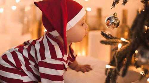 Baby Christmas Picture Ideas - Baby and Christmas Tree Ornament