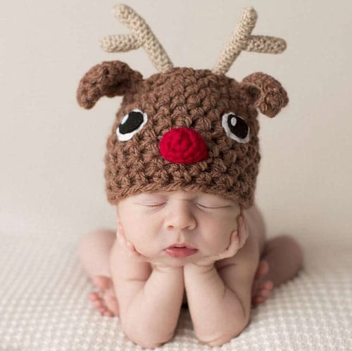 Baby's first Christmas - Baby Christmas Picture Ideas - Reindeer Newborn Baby