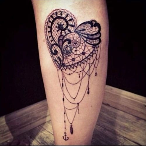 Beautiful Detailed Lace Heart Tattoo
