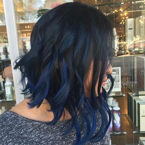 Dark Blue Balayage on Black Hair - Balayage on Dark Hair - Best Balayage for Dark Hair