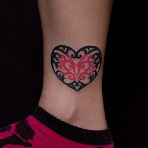 Medium Sized Heart Tattoo - Unique Detailed Heart Tattoo on Ankle