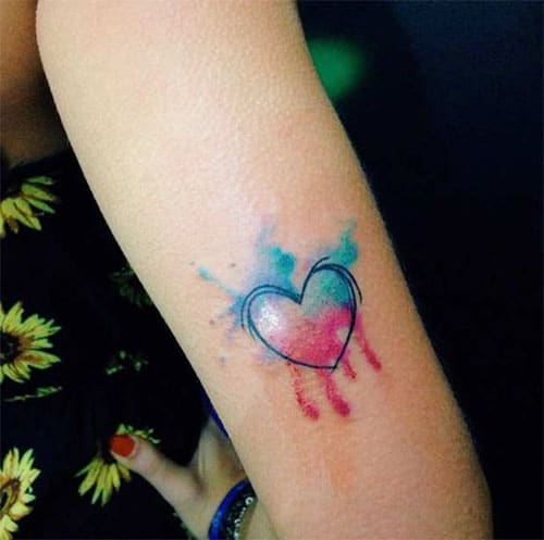 Pink and Blue Heart Tattoo - Colorful heart Tattoo Design