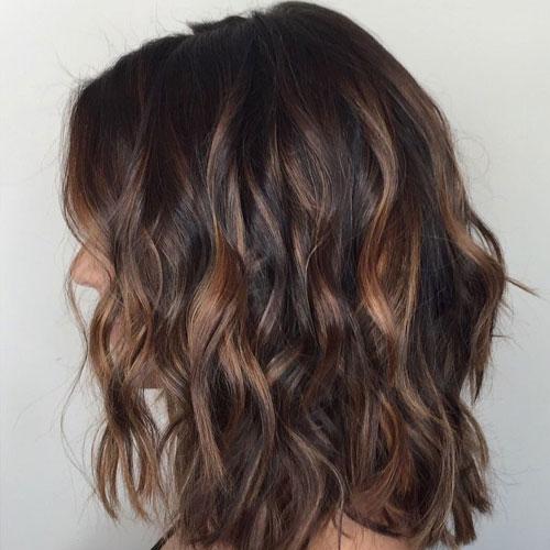 Short Dark Hair with Balayage - Dark Brown with Light Brown Balayage Highlights