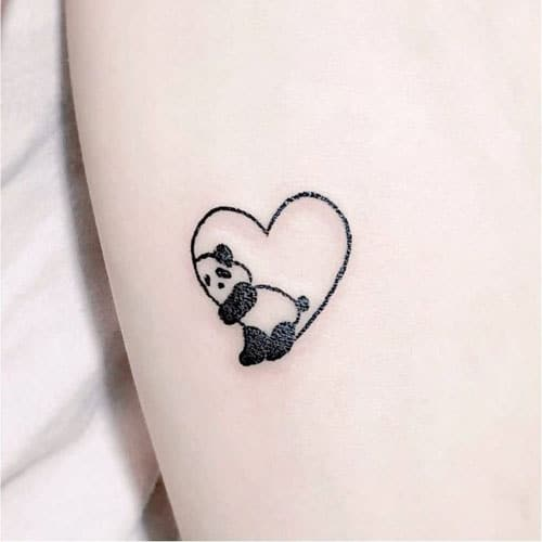 Small Heart Tattoo Design - Cute Heart with Panda