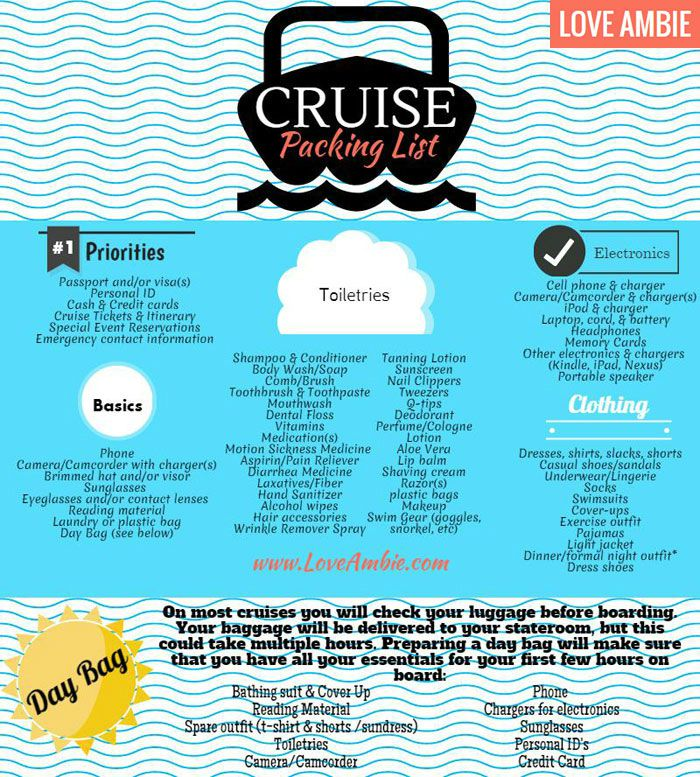 packing for a cruise checklist printable