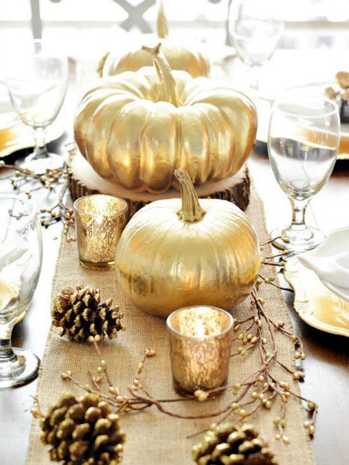 Thanksgiving Centerpiece Table Decorations - Golden Pumpkins