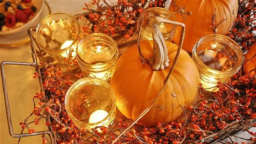 Thanksgiving Centerpiece Table Decorations - pumpkin and candle