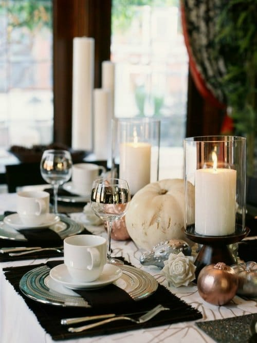 Thanksgiving Centerpiece Table Decorations - simple elegant white