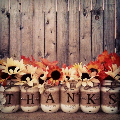 Thanksgiving Centerpiece Table Decorations - thanks mason jar